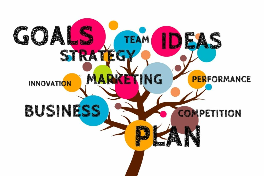 team goal strategy business marketing tree