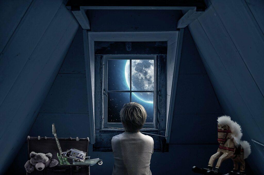 window moon night boy