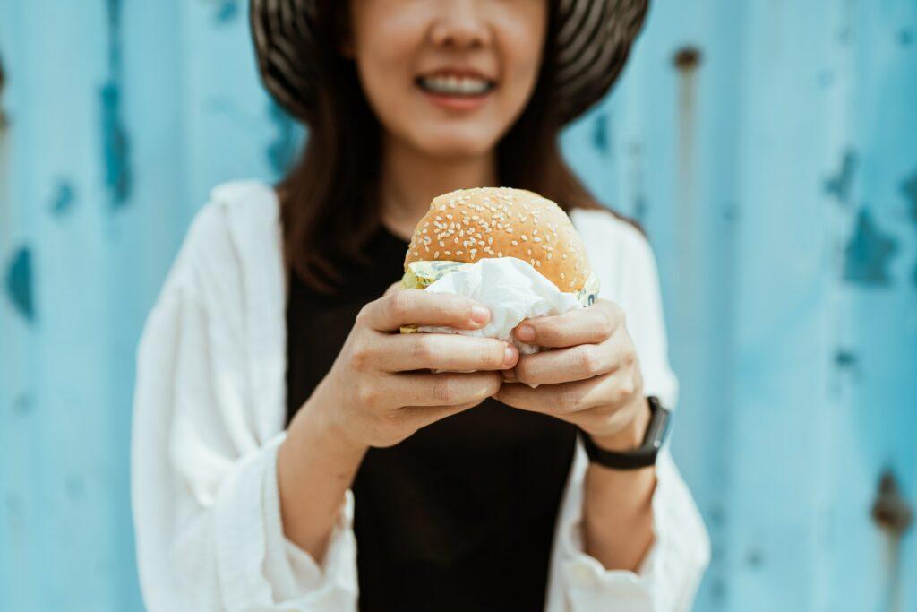 a girl eating