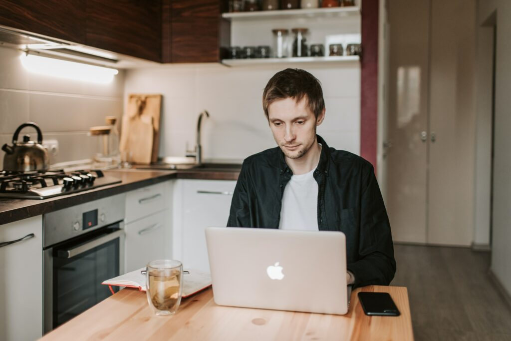 guy working from home