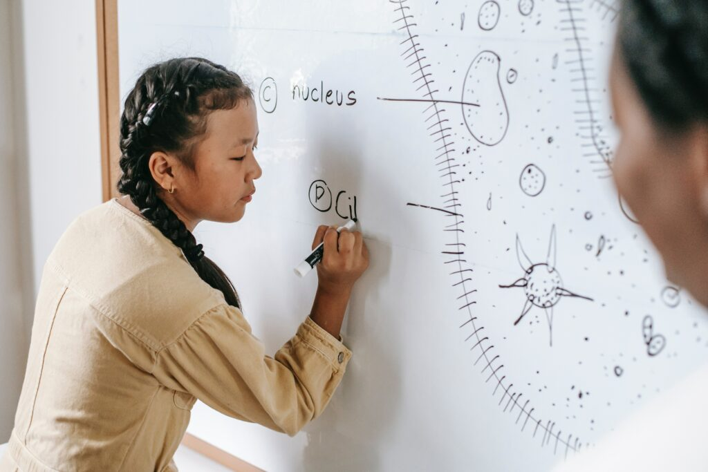 girl writing on white board